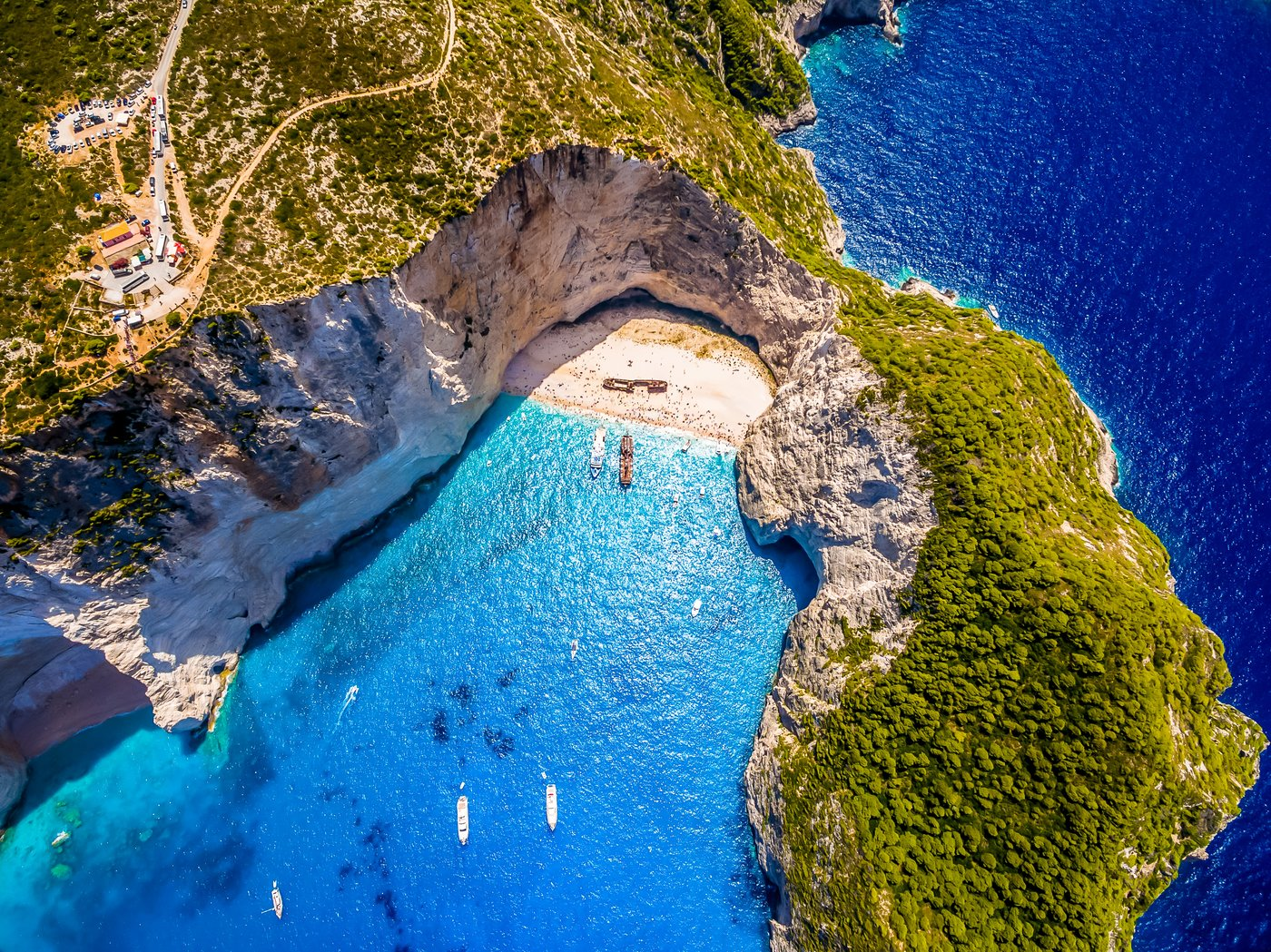Aerial view of Navagio beach Shipwreck in Zakynthos (Zante) island, in Greece